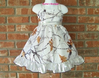 CAMO Flower Girl Dress / Snow Camo + Silver / Halter / Satin / Pageant / Wedding/ Bridesmaid/ Infant/ Baby/ Girl/ Toddler/ Boutique Clothing