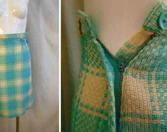 Vintage 1950s Skirt Pencil Skirt Blue and White Wool Basketweave Plaid XS