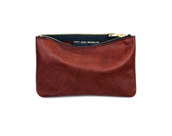 MAE Whiskey Leather Wallet. Brown Leather Pouch. Brown Clutch. Bordeaux Leather Bag
