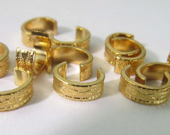 20 Vintage Ornate Gold-Plated Fold-Over Jump Ring Connector Spacer Components Findings Mt283