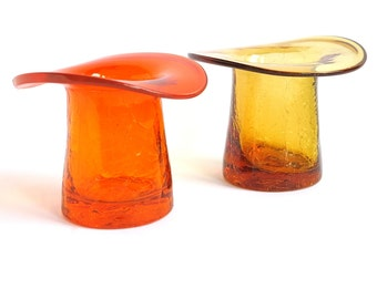 Vintage Glass Hats Tangerine Orange Yellow Vases by Rainbow Art Glass, Set of Two Hand Blown Glass Top Hats Photo Prop Display