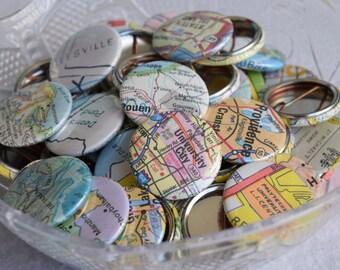 Map Wedding Favors - Wanderlust Travel Wedding & Party Pins - Bride Groom Hometown