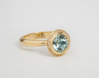 Faceted Aquamarine Ring Diamonds, Fine Jewelry Aquamarine, 18k Solid Gold Round Aquamarine Ring, Aqua Marine Engagement Ring