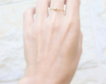 Gold fill ring - Simple chain ring - Thin gold ring - Stacking rings - Tiny ring  - Gold Filled Dainty Ring - Gold Chain Ring