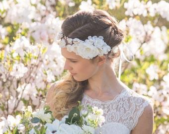 Flower crown, bridal flower crown, Wedding tiara, Wedding flower crown, Silk flower crown, Floral headpiece