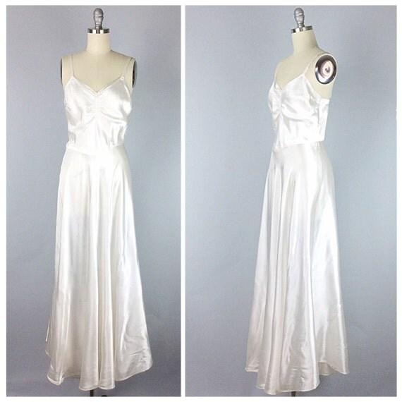 40s White Satin Maxi Dress Slip 1960s By CheshireVintageShop