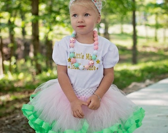 Ribbon Trimmed Tutu for Baby Girl, Pink Tutu, Fluffy Tutu for Toddlers, Birthday Tutu, Pink and Green Tutu, Toddler Tutu Skirt, Ribbon Tutu