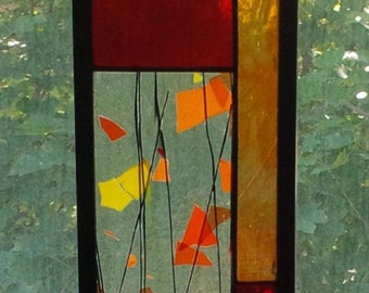 STAINED GLASS PANEL window glass art home decor home and living Interior Design gift