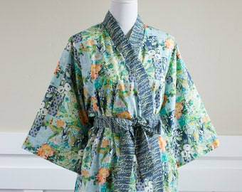 Long Kimono Robe • Womens robe with pockets • Yukata • XS - Plus size • Hospital Gown • Bathrobe • Dressing gown •MF Boho Floral Blue Cotton