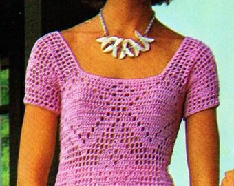 Filet Crochet Top Vintage Crochet Pattern Download