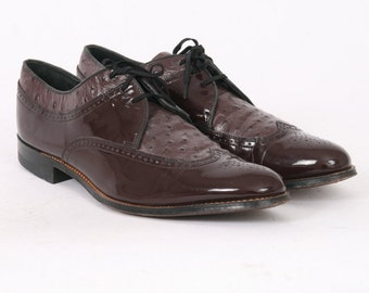STACY Adams Mens 11 US 11.5 D Oxblood Patent Leather Formal Ostrich Skin Exotic Vintage Dress Oxfords Brogues Two Tone Dark Cherry Shoes