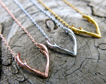 Antler Necklace, Gold Antler Necklace, Rose Gold  Antler Necklace, Tiny Necklace, Simple Necklace, Everyday Necklace