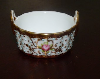 Antique Nippon Porcelain Basket - Stunning Dainty Basket - Beautiful Hob Nail Porcelain - Floral Romance - Trinket Dish - Collectible Bowl