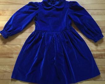 Vintage 1980s Girls Royal Blue Velvet Dress! Size 6-7