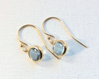 Gold Blue Topaz Earrings, GF Bridal Earrings Light Blue Topaz Earrings Gold Bezel Dangling Earrings December Birthstone Jewelry