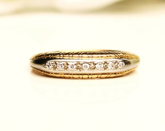 Art Deco Diamond Wedding Ring 0.07ctw Petite Diamond Antique Wedding Band 14K Two Tone Gold Stacking Ring Ladies Thin Wedding Band Size 4.25