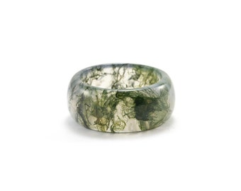 Moss Agate Ring/ Moss Agate Band/ Landscape Agate Ring/ Dendritic Agate Ring/ Green Gemstone Ring/ Moss Agate Jewelry
