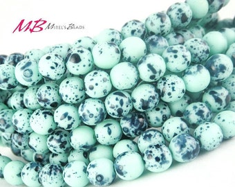 30 6mm Mint Bird Egg Czech Round Druk Beads