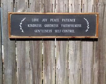 "12"" x 36"" Framed Wood Sign // Fruit of the Spirit: Love, Joy, Peace, Patience, Kindness, Goodness, Faithfulness, Gentleness, Self-Control"