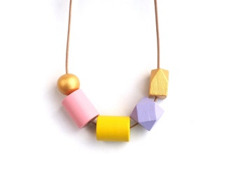 Beaded Necklace - Geometric Wooden Jewelry - Wood Jewelry