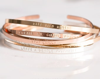 Mantra Band, Bracelet Cuff, Personalized Gold Cuff Bracelet, Bangle in Gold, Sterling Silver, Rose Gold Fill, Positive Quotes