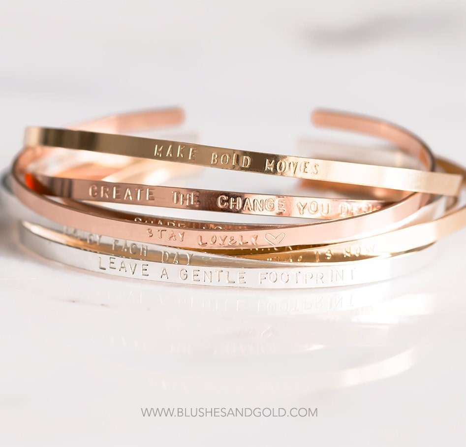 Mantra Band Bracelet Cuff Personalized Gold Cuff By