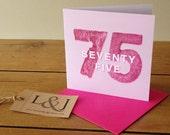 75th birthday card - pink - milestone birthday - happy birthday 75 - seventy five - seventy fifth - 75 today - card for mum - 75 birthday