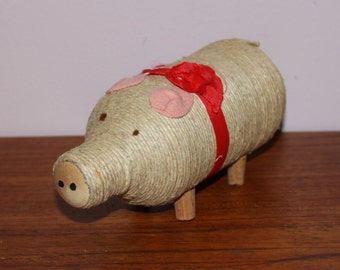 Funny Christmas vintage retro decoration handicraft figurine: Pig with bow. Made in Sweden, Scandinavian