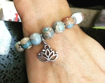 Aqua Terra Jasper and Lotus Flower Bracelet/ Aqua Tera Jasper/ gemstone/ Lotus flower/ bracelet/ yoga/ meditation/ mala/ Spiritual/ jewelry