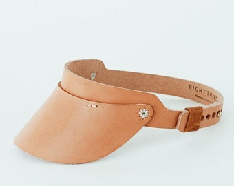 Leather Visor - Cambria Visor With Flower Detail in Natural Veg Leather - < Free US Shipping >