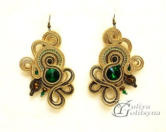 Large Soutache Earrings gold tone Statement earrings Summer jewelry Elegant earrings Green crystal jewelry Gold tone soutache