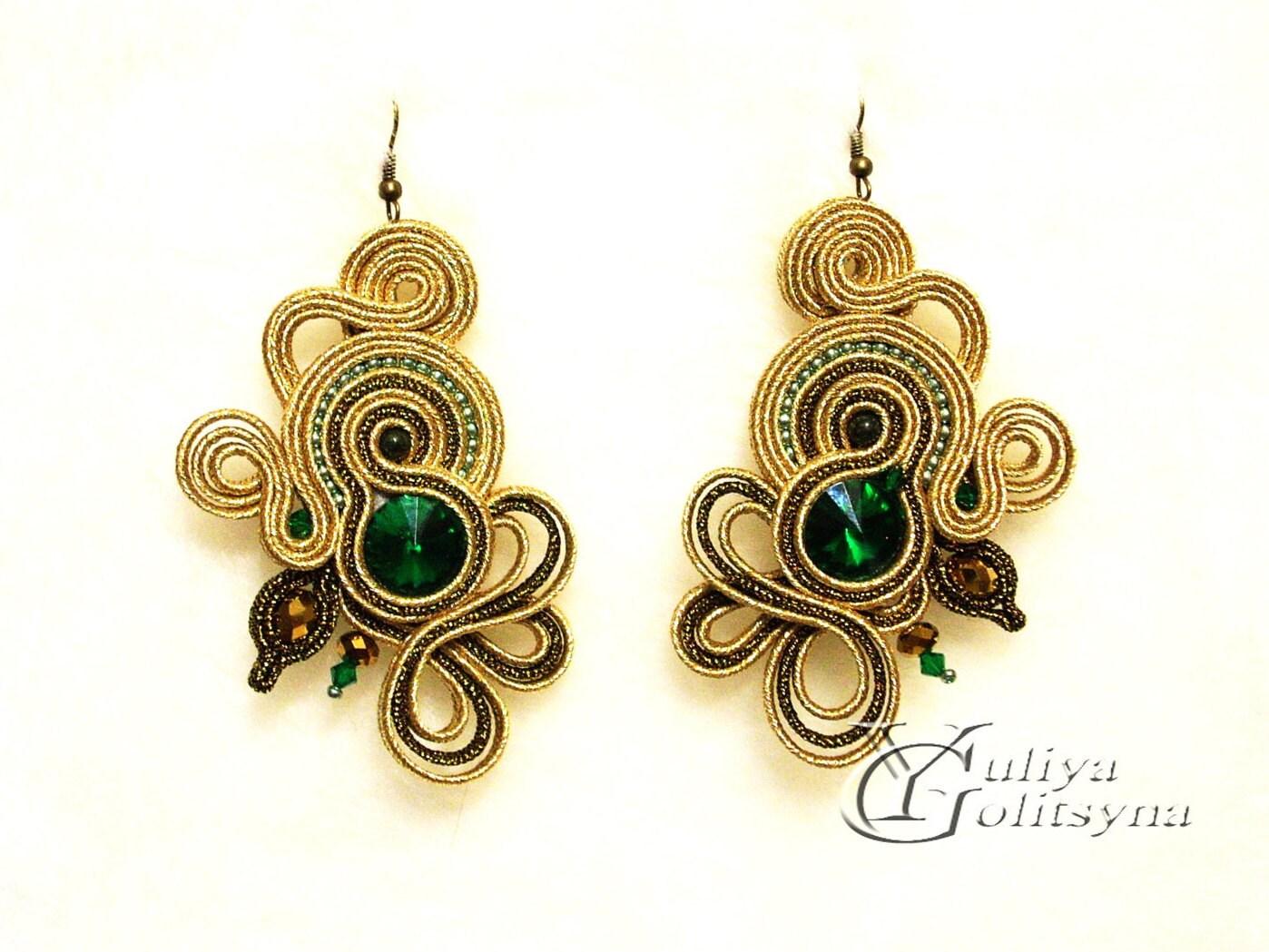 Large Soutache Earrings Gold Tone Statement Earrings Summer Jewelry Elegant  Earrings Green Crystal Jewelry Gold Tone