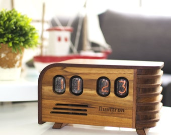 BEST SELLING Vintage Nixie Tube Clock - Art Deco design with Nixie tubes made in the Cold War Era - Wooden enclosure handcrafted by Nuvitron