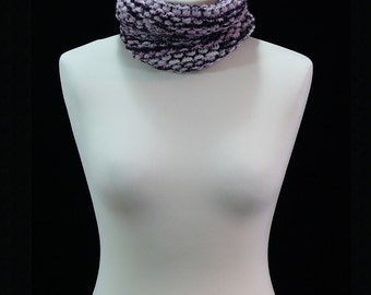 Hand knitted multicoloured infinity scarf; neck warmer.