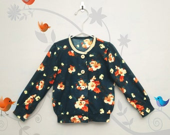 Floral sweater, floral baby sweater, toddler floral sweater, floral baby blouse, flower girl sweater, toddler pullover, floral  clothes