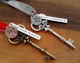 New Home Ornament/ Personalized Housewarming Gift /First Home Skeleton Key Ornament / Stamped Penny