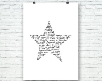 You are what happened when i whised upon a star. Hand written, Quotes, Downloadble Artwork, Typography Decor, Prints for nursery