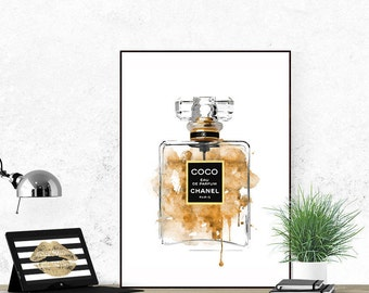 Poster perfume bottle. Coco printable poster.  N5 printable perfume. Coco perfume. Fashion printable poster. Fashion artwork
