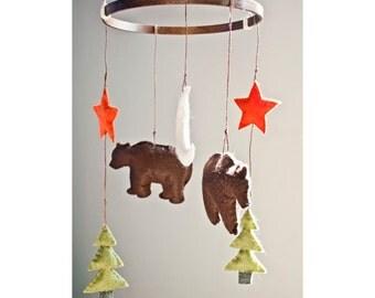 Bear Felt Baby Crib Mobile: Woodland Mobile- Woodland (Outdoor) Theme Nursery Decor- Custom Colors Available