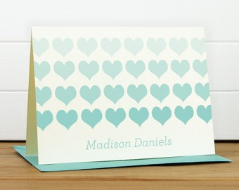 Personalized Stationery Set / Personalized Stationary Set - HEARTS Custom Personalized Note Card Set - Bold Heart Cute Girl Wedding
