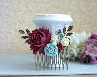 Burgundy Red Flower Comb Marsala Antiqued Hair Comb Dusty Blue Rustic Wedding Comb Maroon Red and Blue Leaf Branch Flower Bridal Hair Comb