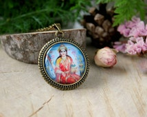Lakshmi Hindu Goddess of Luck and Wealth, Antique Bronze Pendant,Glass Cabochon Pendant With Chain