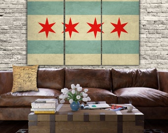 Vintage American Flag Wall Art vintage american flag on canvas 3 panel set. perfect for any