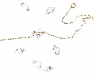 GOLD Choker. Gold Choker Necklace. Gold Necklace. Gold Necklace Dainty. Crystal Necklace. Crystal Choker. Gold Chain Choker