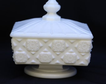Westmoreland Milk Glass, Old Quilt Pattern #500, Footed Covered Dish