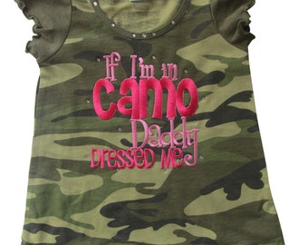 Camo Dress If I'm in Camo Daddy Dressed Me baby girl, girls clothing baby clothing, camo dress, girls camo dress, camouflage,