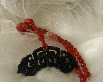 Black jade double dragon & phoenix pendant w red carnelian beads necklace , beaded jewelry , Asian jade jewelry , Chinese jade wedding gift