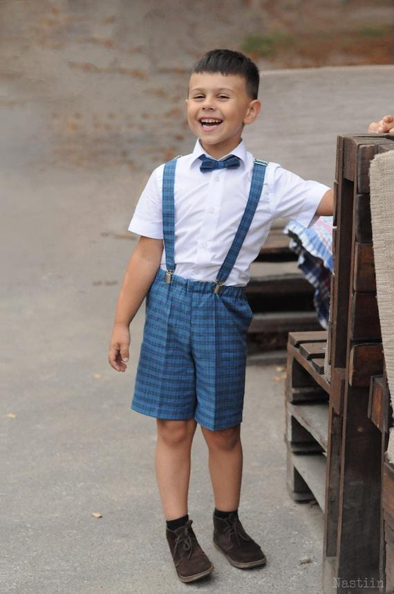 Boys shorts with suspenders Baby boy shorts blue wedding