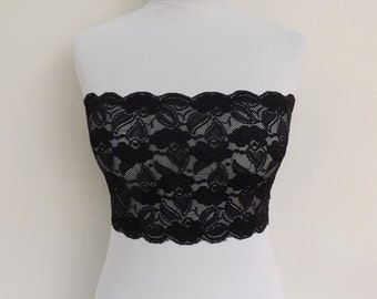 Black elastic lace bandeau top. Floral lace strapless. Lace lingerie. Black lingerie. Lace tube top.