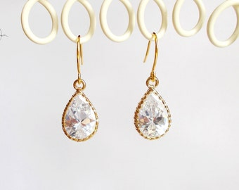 Tiny Gold Crystal Earrings - Small Teardrop Dangle Earrings - Simple Dainty Minimal Wedding, Bridesmaids, Maid of Honour Jewellery Gift